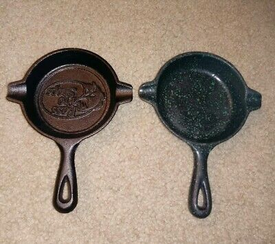 Two Cast Iron Miniature Skillets Ashtray Spoon Rest Wagner Ware Lodge Bass Pro