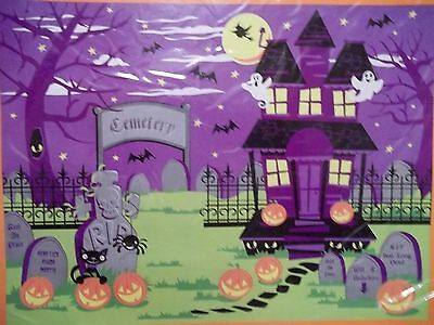Haunted House Cemetery Wall Scene Setter Halloween Decoration Prop 4 ft x 5 ft