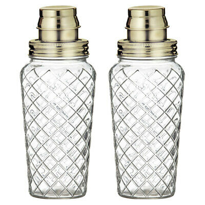 2x Davis & Waddell Fine Foods Raymond Glass Cocktail Shaker/Mixer Bar Clear/Gold
