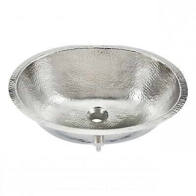 Sinkology Pavlov 19.25' Oval Hand-crafted Bath Sink In Hammered Nickel