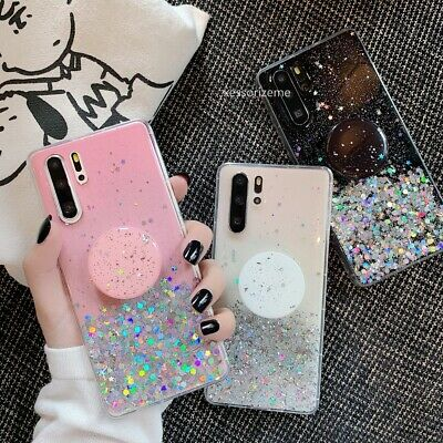 Luxury Bling Glitter Clear Soft Case For Huawei P20 P30 Lite With Stand Holder