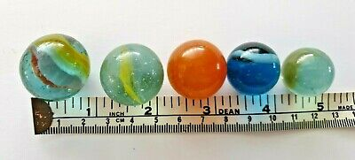 5 x Vintage Glass Tom Bowler Marbles Various Sizes
