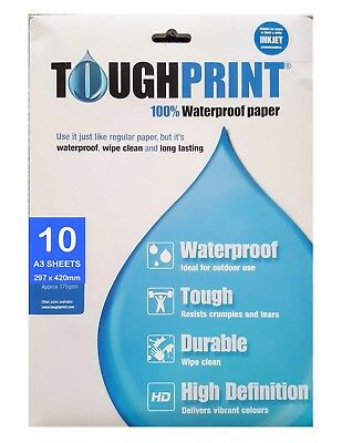 A3 Water Proof Paper - Pack of 10 sheets for Inkjet printers