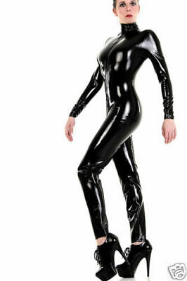 Schwarz Full Bodysuit Gummi Polished Ganzanzug Latex Rubber Catsuit Kostüm S-XXL
