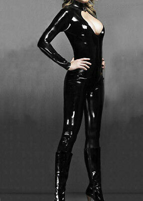 Latex Rubber Catsuit Kostüm Schwarz Full Bodysuit Gummi Ganzanzug Chest Hollow