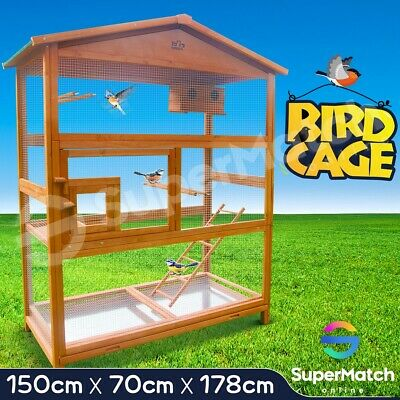 Large Wooden Bird Cage Pet Parrot Aviary Budgie Canary Cockatoo Perch House