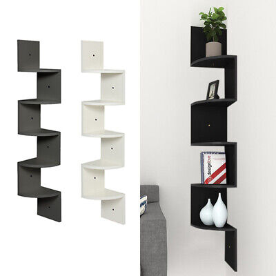 2/3/5 Tier Corner Wall Shelf Floating Shelves Storage Display Organizer 60-123cm