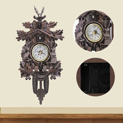 Antique Deer Forest Home Decor Art Quartz Swing Vintage Cuckoo Alarm Wall Clock