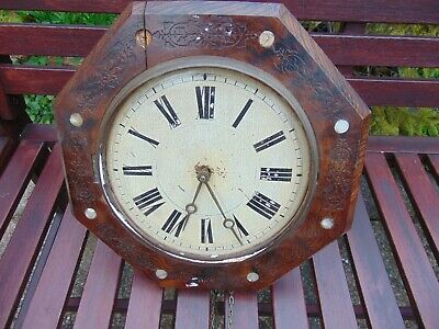 19th CENTURY VICTORIAN POSTMAN WALL CLOCK FOR REPAIR RESTORATION PROJECT