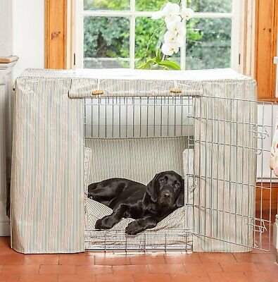 Lords & Labradors Regency Stripe Oilcloth Dog Crate Cover