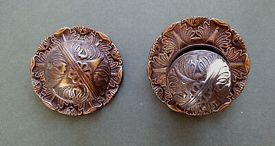 Decorative Set of two Brass Knobs Vintage, possibly Victorian or Edwardian.