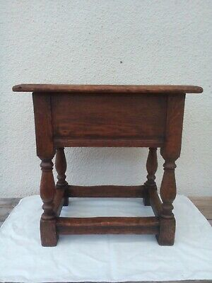 antique oak  joint stool with box top