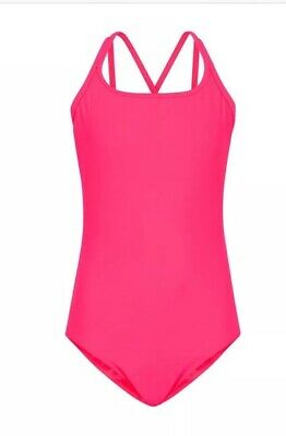 New Look - 915 Girls Bright Pink Cross Strap Back Swimsuit - Age 12-13 Yr - BNWT
