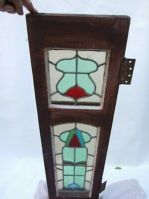 ANTIQUE ART NOUVEAU  ORIGINAL CEDAR  LEADLIGHT COLOURFUL WINDOW  C1890's