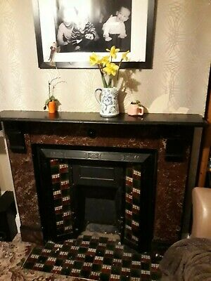 Victorian  Marble Fireplace Surround with Slate Detail.