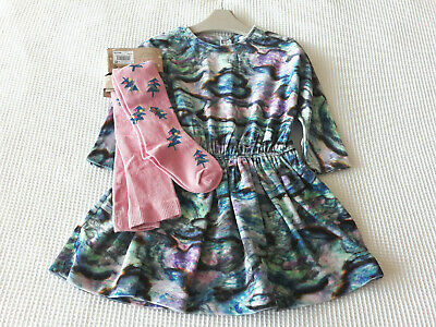 Next Baby Girls Marble Print Dress & Pink Christmas Tights Age 18-24 Months BNWT