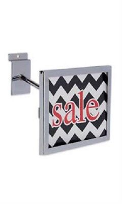 "6 Slatwall Sign Holder Chrome Holds 7"" Wide x 5 ½"" High Signs Metal Slat Wall"