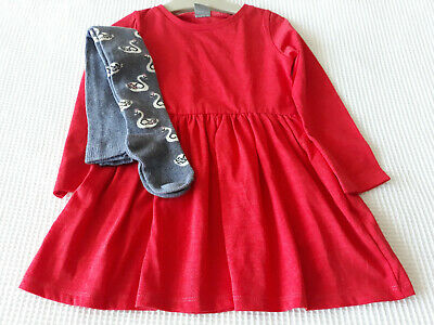 NEXT Baby Girls Red Dress & Blue Tights Age 18-24 Months BNWT