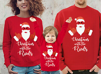 Custom Family Christmas red jumpers set with glitter Santa Set of 2, 3, 4 or 5