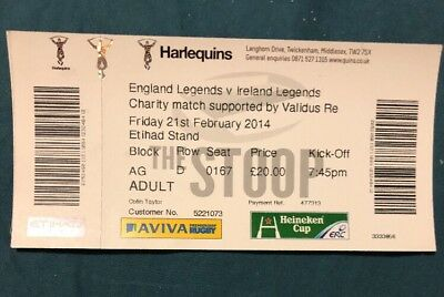 England Legends v Ireland Legends (Feb 2014) Used Ticket