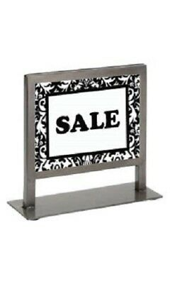 "4 Countertop Signs Sign Holder Steel 7 ¼ x 7 Fits 5 ½ x 7"" Silver Contemporary"