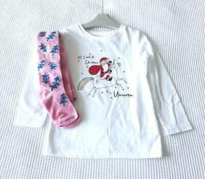 Next Girls White Christmas Top & Pink Christmas Tights Age 3 Years BNWT