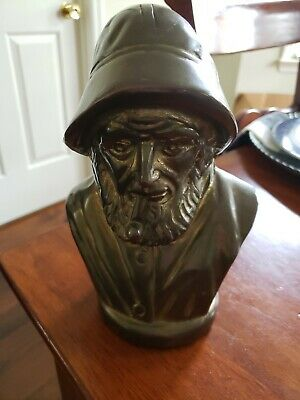 Antique/Vtg Solid Brass Sailor Fisherman Bust Statue