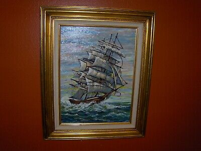Beautiful Vintage Clipper Ship Marine Seascape Bailey Oil Painting Weaves Birds