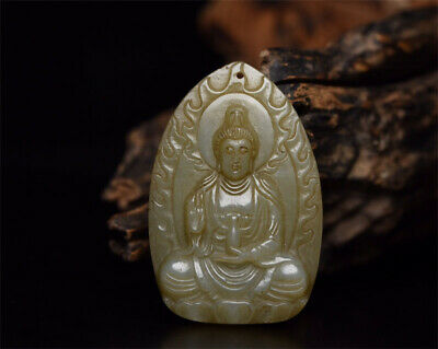 "2.56"" Chinese 100%natural Hetian Nephrite jade Hand-carved Kwan-yin Pendant"
