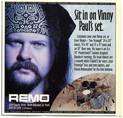1994 small Print Ad of REMO Triumph Drum Kit with Vinny Paul Pantera