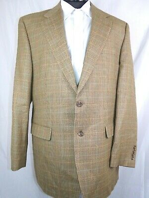 Ralph Lauren Blazer Tan Check Silk Wool Mens 44L