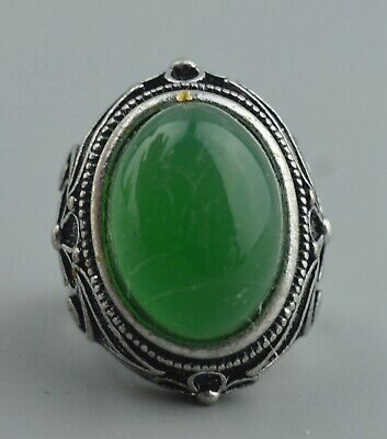 Collectable Handwork Decor Old Miao Silver Carve Flower Inlay Jade Exorcism Ring
