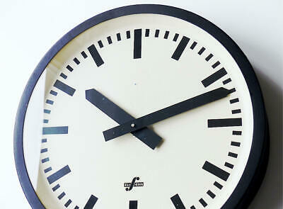 Large antique german TN TELENORMA Industrial Clock factory wall Bauhaus wall old