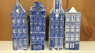 Delft Blue Hand Painted Dutch Houses, Collectors Aarding 1,3,4,13 RARE #360