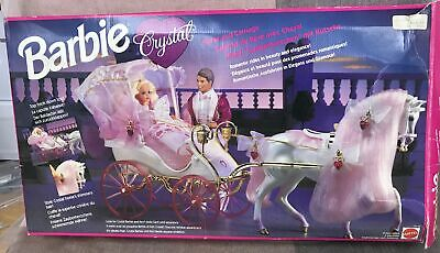 Vintage 1992 Mattel Barbie Crystal Horse & Carriage Play Set With Box #953