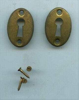 Two Antique Original Brass Key Hole Covers, Escutcheon