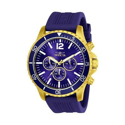 Invicta 24392 Mens Pro Diver Gold-Tone Chronograph Blue Polyurethane Band Watch