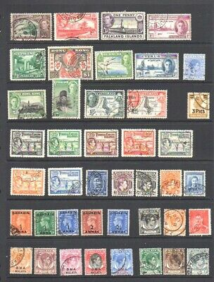 World Postage Stamps - British Colonies - King George VI - Fine Used Seln. (42v)