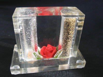 vtg Mid Century Mod clear CUBE Lucite Salt Pepper shaker encase flower Red Rose