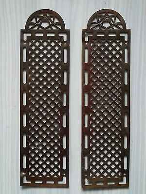 Pair Antique French Door Finger Plates Pierced Brass Trellis Design