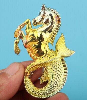 China Copper Plated Hand-Cast Seahorse Statue Pendant Auspicious Gift