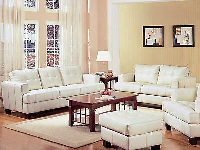 Pleasing Samuel Cream Off White Bonded Leather Living Room Sofa Machost Co Dining Chair Design Ideas Machostcouk