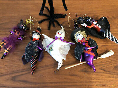 Halloween Christmas Handblown Glass Ornaments Cats Witches Ghost Devil