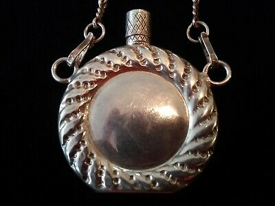 Antique Chatelaine  Sterling Silver Perfume Bottle Mexico Flask Opium NR