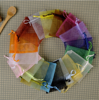 100Pcs Mixed Colour Organza Gift Bags Wedding Party Xmas Jewellery Candy Pouches