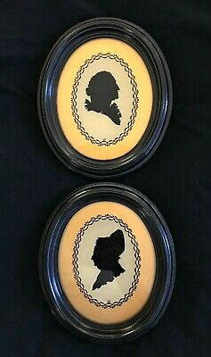 Vintage George & Martha Washington Silhouette Reverse Paintings Framed Pictures