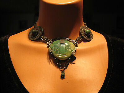 Vintage Sterling Silver & Jade Aztec / Mayan Carved Face / Mask Necklace Choker