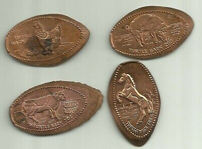 4 copper elongated pennies (cents) TURTLE BACK ZOO in West Orange NJ Retired m#1