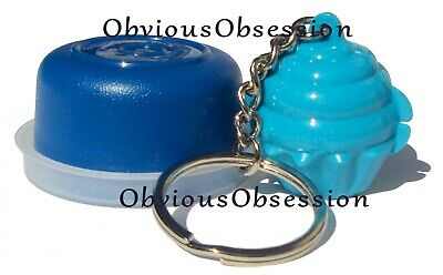New Tupperware Mini Cupcake Keeper Cup Cake Keychain Blue Smidget Lot