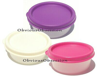 TUPPERWARE Mini Half Snack Giant Smidgets  Set of 3 Purple White Pink New